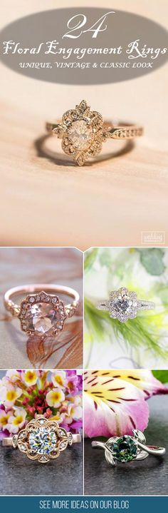 24 Outstanding Floral Engagement Rings ❤ Floral ring designs are very multifunctional and can easily be adapted towards an bride's preferences. See more: http://www.weddingforward.com/floral-engagement-rings/ #wedding #floral #engagement #rings