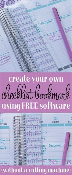 How to create your own planner checklist sticker. You can create planner stickers for free using the free version of Silhouette Studio and just printing it. This checklist bookmark doesn't require a cutting machine at all.