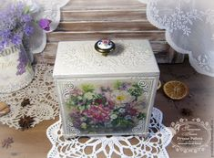 """Купить Короб для специй """"Цветение"""" - белый, короб для хранения, короб декупаж, коробочка, короб для кухни"""