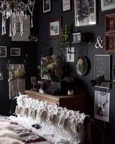Bohemian Room, Bohemian Bedroom Decor, Diy Bedroom Decor, Bedroom Inspo, Bedroom Inspiration, Boho Decor, Bedroom Ideas, Dark Brown Walls, Rainbow Bedroom