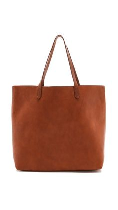 Madewell Transport Tote A chic, pebbled leather tote with rugged good looks that get better with wear. Supple contrast leather handles open to an unlined interior with one zip pocket. Madewell Transport Tote, Madewell Tote, Leather Purses, Leather Handbags, Tote Handbags, Saddle Handbags, Oui Oui, Beautiful Bags, Look Fashion