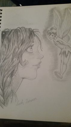 tinkerbell drawing by me in 2014, black and white