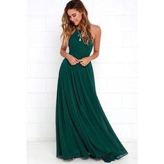 Women's Hunter Green Elegant Chiffon Criss Cross Open Back Maxi Dress Perfect for Weddings