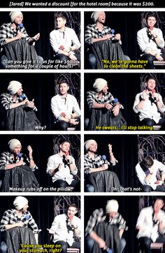 [gifset] Jensen and Jared J2 on finding a hotel room with a full face of makeup. #VegasCon15