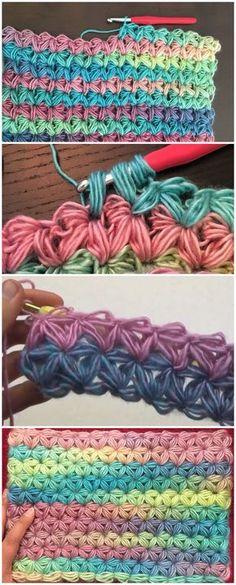 Crochet Jasmine Star Stitch With Videos