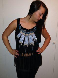 Western Turquoise Feather Indian ombré fringe shirt sz medium on Etsy, $20.00