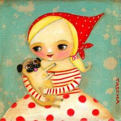 Blonde Girl with PUG dog PRINT poster from original by tascha, $15.00