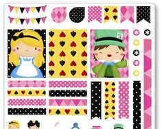 Alice in Wonderland Decorating Kit / Weekly Spread Planner Stickers for Erin Condren Planner, Filofax, Plum Paper