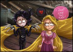 Rapunzel / Edward Scissorhands (Cross Overs by Daekazu @deviantART) #Tangled #EdwardScissorhands
