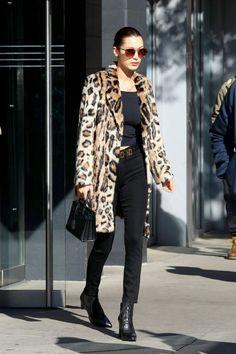 Bella+Hadid - leopard coat