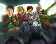 Tyson, Annabeth, Percy and Grover in the magic taxi (The Sea of Monsters)
