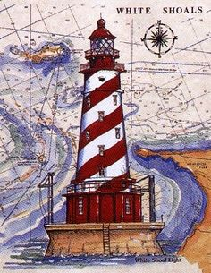 donna elias lighthouses on chart - White Shoals Great Lakes Lighthouse Pictures, Lighthouse Art, Marblehead Lighthouse, Nautical Art, Beach Crafts, Through The Looking Glass, Paper Background, Art Nouveau, Travel Posters