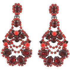 Elizabeth Cole Oval Red Chandelier Earrings ($319) ❤ liked on Polyvore featuring jewelry, earrings, post earrings, elizabeth cole, red chandelier earrings, swarovski crystal jewelry and earrings jewelry