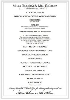 relationships ideas traditional wedding reception program