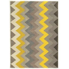 Linon Trio Collection Chevron Grey/ Yellow Area Rug (2u0027 x 3u0027)