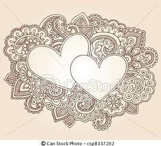 Vector - Henna Love Hearts Valentines Doodle - stock illustration, royalty free illustrations, stock clip art icon, stock clipart icons, logo, line art, EPS picture, pictures, graphic, graphics, drawing, drawings, vector image, artwork, EPS vector art