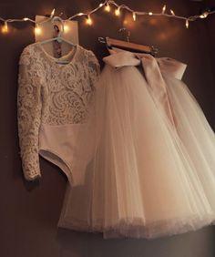 Lace bodysuit with tulle skirt -- winter flower girl