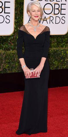 2016 Golden Globes Red Carpet Arrivals Helen Mirren in Badgley Mischka. Long Sleeve Formal Gowns, Elegant Dresses, Formal Dresses, Bride Dresses, Prom Dresses, Helen Mirren, Gowns With Sleeves, Groom Dress, Red Carpet Dresses