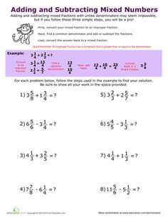 Worksheets: Adding and Subtracting Mixed Numbers