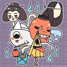 "Supernatural creatures (called yōkai), scary stories, and haunted houses are all the craze in Japan every summer! Σ(゚д゚lll)The eerie kind of ""chill"" the folks get from being scared somehow alleviates the heat from the summer weather. Kawaii Drawings, Cute Drawings, Japanese Mythical Creatures, Japanese Urban Legends, Japanese Yokai, Matsuri Festival, Mythological Animals, Japanese Monster, Japanese Dragon Tattoos"