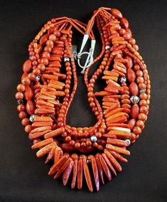 9-Strand Mixed Coral Necklace with Carnelian Agate, Czech Fire Polished & Luster Glass, White Heart Beads and Sterling Silver
