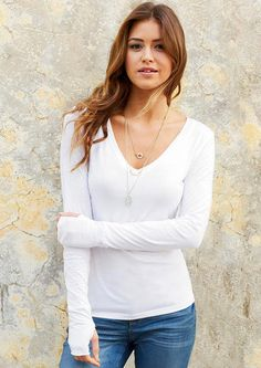 V-Neck With Thumbholes Tee love the long sleeve thumb-hole look!