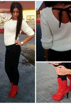 sweater and red boots