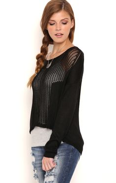 Deb Shops Long Sleeve Open Stitch High Low Pullover Sweater $17.40