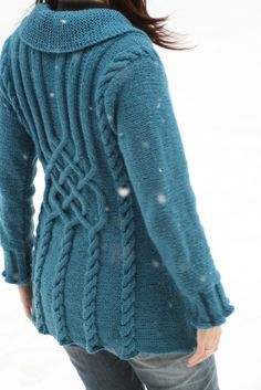 "Ravelry: Project Gallery for 134-1 ""Bluebird""- Jacket with cables in Karisma Superwash pattern by DROPS design-free pattern"