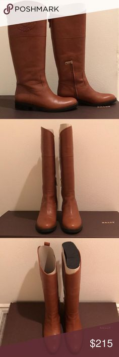 Bally Luggage Calf Plain Brown Boots Brand new tall boots with minute marks shown on picture Bally Shoes Winter & Rain Boots