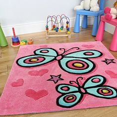 Girl's Quality Pretty Pink Decorative Butterfly Soft Kid's Rug 90 x 90cm