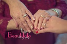 three generations with their engagement rings, the bride, her mother and grandmother