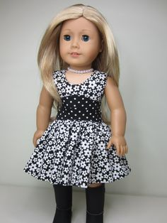 American Girl doll clothes- Black   and white flowered  Lisianthus dress.
