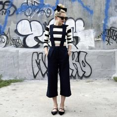 Pin for Later: 25 Unique Outfit Ideas You Can Wear With Your Plain Black Flats With Suspenders, a Striped Crop Top, and a Bow on Top