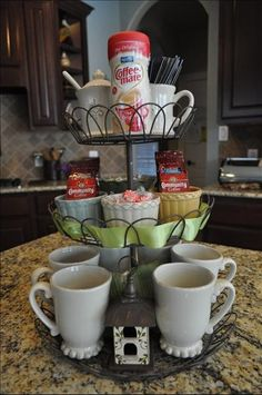 Cupcake stand as a coffee station.