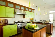 Beautiful Green Brown Wood Stainless Unique Design Kitchen Simple Modern Ideas Wall And Base Cabinet Green Pendant Lamp Granite Top Faucets At Kitchen With Modern Kitchen Furniture Also Kitchen Cabinet of Wonderful Modern Kitchen Design from Kitchen Ideas