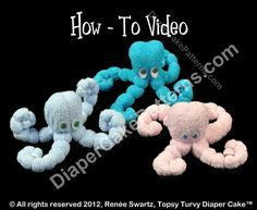 baby shower cakes ocean theme | Washcloth Octopus Instructional Video | Diaper Cake Patterns