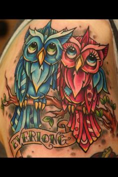 pink and blue owl tattoo