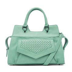 Street Level Woven V Flap Satchel Seafoam