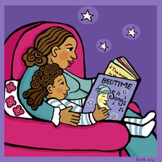 """A Little Bedtime Reading"" by farah aria from my multicultural illustration portfolio: faraharia@earthlink.net"