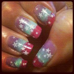 Star mani...pink blue purple...nail art