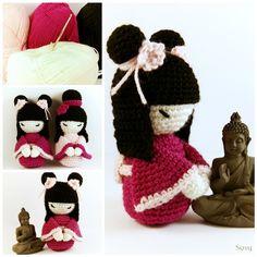 Amigurumi Kokeshi Doll Pattern here www.ravelry.com/patterns/libra… My Dawanda shop ♥(italian) it.dawanda.com/shop/SuniMam ♥(english) en.dawanda.com/shop/SuniMam ♥ My Et...