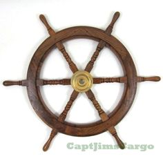 """CaptJimsCargo - Nautical 30"""" Teak Wood Ships Steering Wheel Solid Brass Hub,  (http://www.captjimscargo.com/nautical-home-decor/ship-steering-wheels/nautical-30-teak-wood-ships-steering-wheel-solid-brass-hub/) The perfect nautical gift to complement your recipient's marine furniture decor!"""