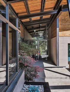 In Good Order entrance with glass, concrete, steel, and wood material palette.