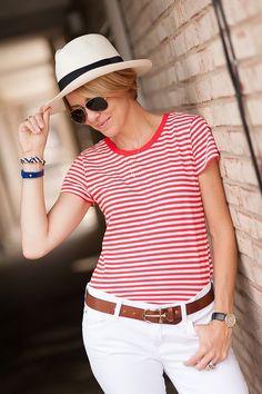 Seeing Stripes: Seersucker + Saddles wears Maya Brenner's state necklace