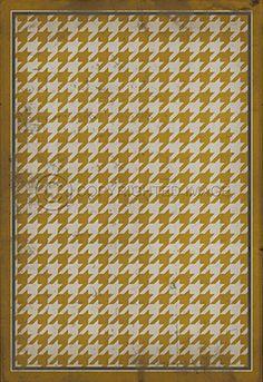 Pattern 13 Yellow on White - Vintage Vinyl floor cloths by Spicher&Co.