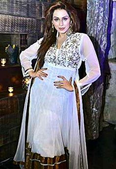 Ria dsouza spotted in masala magazine wearing a white anarkali with intricate embroidery from VIDIS CLOSET!
