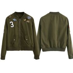 Fashion Army Green Women Bomber Jackets Female Coat Flight Suit Casual Print Jacket Embroidered Patches Women Basic CoatsLQ