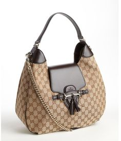 Gucci brown canvas and leather logo shoulder bag