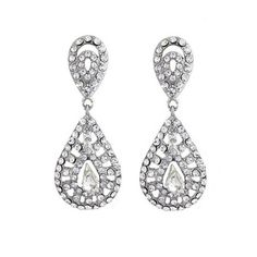 add a dash of Gatsby inspired vintage glam to your bridal look! sparkling crystal is used to create an unusual design Bling Bling, Art Deco Jewelry, Unique Jewelry, Art Deco Wedding, Vintage Glam, Wedding Earrings, Gatsby, Teardrop Earrings, Art Deco Fashion